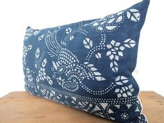 12x 20 Vintage Chinese Indigo Batik Pillow by HillTribesTreasures