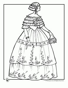Victorian Doll with Cape Coloring Page