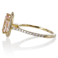 Morganite Pear Halo Diamond Engagement Ring Yellow Gold
