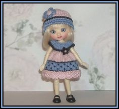 Amelia Thimble Dolls by Wilde Imagination Periwinkle and Pink Color Block Dress and Hat by JCsTinyTreasures, $21.00