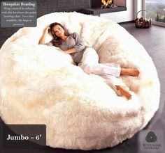 Fine Looking Fluffy White Fur Beanbag