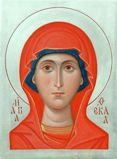This icon of St Thecla of Iconium can be painted using tempera or acrylic paints. Made in the icon painting studio of St Elisabeth Convent Byzantine Icons, Byzantine Art, Our Lady Of Rosary, Paint Icon, Bible Images, Religious Symbols, Painting Studio, Orthodox Icons, Christian Art