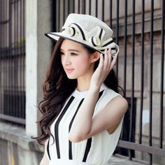 Black white bowler hat for women summer wear UV package | Buy cool cap,fashion hats on buyhathats.com