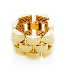 Polished Gold Three Rows Link Bracelet by Ben Amun | Thomas Laine #Edgy #Chunky