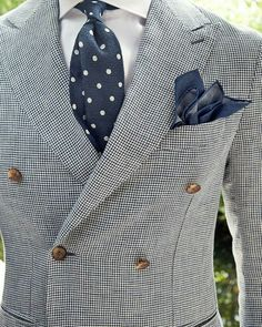 Double Breasted Gray Suit + Blue and White Polka Dot Tie.