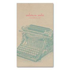 Journalist Vintage Typewriter Cool Mint Modern Business Card Template