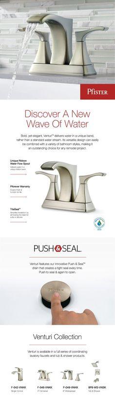 Pfister Venturi 4 in. Centerset 2-Handle Bathroom Faucet in Brushed Nickel-F-048-VNKK - The Home Depot