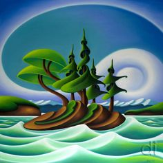 The outer circle with night sky inside is a good way to deplict northern lights / by Dana Irving. Landscape Art, Landscape Paintings, Landscape Photos, Landscape Photography, Canadian Artists, Art Challenge, Wildlife Art, Tree Art, Naive