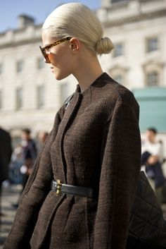 topshop: Sleek back hair works wonder with this woollen belted coat for a Madmen-esque look.