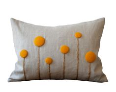 Marigold Orange Billy Ball Flower Pillow in Natural Linen by JillianReneDecor Billy Button Botanical Home Decor Craspedia via Etsy