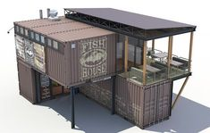 Container fish house Model available on Turbo Squid, the world's leading provider of digital models for visualization, films, television, and games. Shipping Container Restaurant, Cargo Container Homes, Container Office, Shipping Container Home Designs, Container Shop, Storage Container Homes, Building A Container Home, Container Buildings, Container Architecture