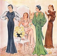 A quartet of long, lovely evening looks from 1934. 1930s illustration