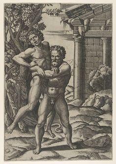 Marcantonio Raimondi   Hercules holding Antaeus by the waist and lifting him off his feet   The Met