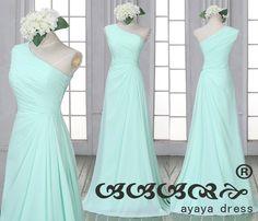 Grüne Minze Brautjungfer Kleid eine Schulter von ayayadress auf Etsy