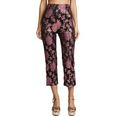 For Love & Lemons Luella Cigarette Pants ($180) ❤ liked on Polyvore featuring pants, capris, metallic, cigarette trousers, floral-print pants, flower print pants, cigarette pants and floral trousers