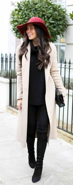 Camel Coat +  Heeled Over the Knee Boots / Best LoLus Street Fashion