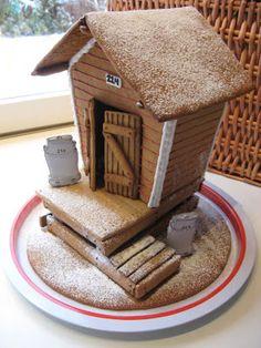 Gingerbread House~Gingerbread milk platform. Patterns: http://ebetys.blogspot.fi/2012/11/maitolaituri.html