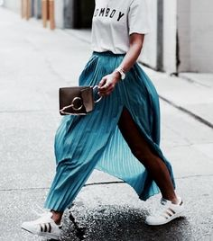 Adidas runners, teal blue pleated maxi skirt, graphic t-shirt