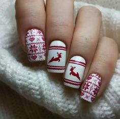 red glitter reindeer winter nail art