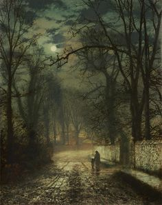 A moonlit lane (1874) - by John Atkinson Grimshaw