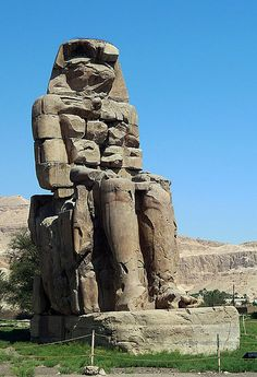 Memnon Statue, Thebes, Egypt. Condensation in the rocks caused it to make crying noises.