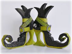 BasicGrey Altered Witch Boots - made with chipboard and patterned basic grey papers. These are GREAT!