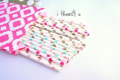 I Heart U Paper Straws