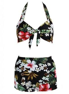 For my hawaii holiday one day!! Floral Hawaiian Retro Pin up Rockabilly Womens Bathing Suit Swimsuit Swimwear Bikini - Buy New: $29.99