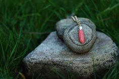 Coral Pendulum Quartz Long Necklace