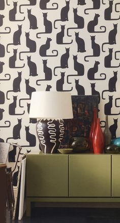 """Wallpaper Australia - Search Results for """"Cat"""" Animal Wallpaper, Home Wallpaper, E Design, Wall Design, Statement Wall, Mural Wall Art, Cat Decor, Traditional Interior, Cat Wall"""