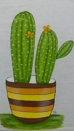 Canvas Painting Designs, Painting On Wood, Cactus Decor, Cactus Art, Cactus Drawing, Green Cactus, Class Decoration, Mosaic Garden, Watercolor Cards