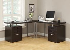 Perfect length and work space.  Black or white would be nice---but without extra drawers.   Computer Desk - Cappuccino L Shaped Corner Desk – Harvey & Haley