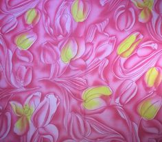 "French Cotton Fabric Retro 3 1/2 yd Pink Yellow 36"" Wide Vintage"