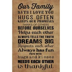 """Canvas Wall Art """"Our Family"""" rules, 21.5"""" x 32.5"""""""