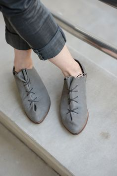 Grey oxford flats. $215.00, via Etsy.  I really love these shoes!  And would really love to chat with the make-up artist who worked on this photo shoot!  Fail.