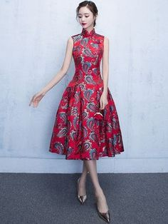 Embroidered Red Flare Qipao / Cheongsam Dress