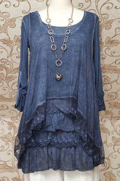 Stunning blue tunic dress quirky italian lagenlook/layering top one size Mode Hippie, Mode Boho, Mode Style, Style Me, Look Fashion, Womens Fashion, 90s Fashion, Winter Fashion, Estilo Hippie