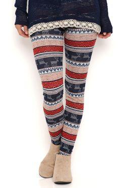 Deb Shops Tribal and Reindeer Stripe Leggings $9.60