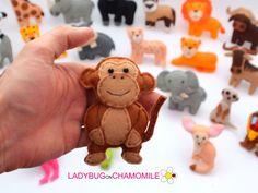 Felt MONKEY stuffed felt Monkey magnet or ornament Monkey