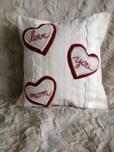 Love You Mom Pillow Cover, Mother's Day Gift, Gift for Mom, Handmade, Pillow Cover, Appliqué by sweetkimmieT on Etsy
