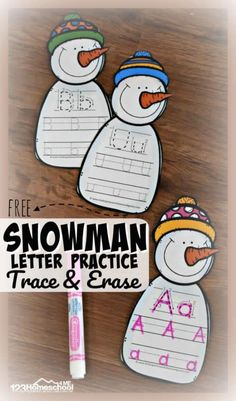 FREE Snowman Letter Practice Trace & Erase - these free printable alphabet practice activity is perfect for winter! These are better than alphabet worksheets because they are reusable and so cute  and fun that toddler, preschool, prek, and kindergarten age kids will WANT to practice writing letters! #alphabet #snowmantheme #snowmanlearning #wintertheme #winterlearning #educationalactivity #preschool #kindergarten #letterpractice