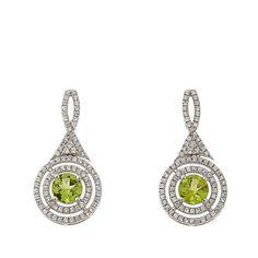 Rarities Fine Jewelry with Carol Brodie Rarities: Fine Jewelry with Carol Brodie 2.80ctw Peridot and White Zircon Sterling Silver Drop Earrings
