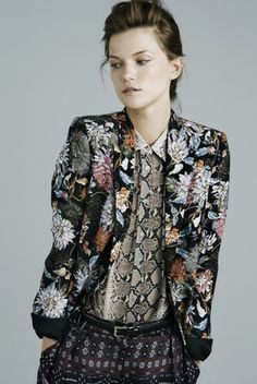 Mixed Prints - romantic florals & snakeskin; cool clashing combinations