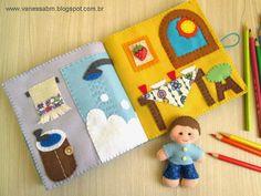 Aprenda como fazer um Livro de Feltro para as crianças. Moldes e passo a passo detalhado nesta Apostila by Vanessa Biali.