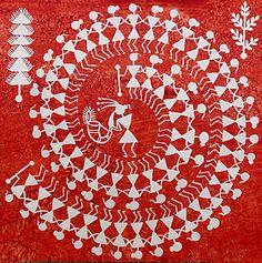 TARPA DANCE- Original Warli Painting Indian Folk Art