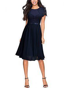 9cf7369b2747 Miusol Damen Abendkleid Sommer Chiffon festlich Kleid Cocktailkleid Vinatge  kleider Blau Gr.S  abendkleiderzuverkaufen