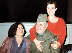Family man: Ratko Mladic with his daughter Ana, right, and his wife during the Bosnian war. Ana died on 24 March 1994, aged 23, in an apparent suicide.