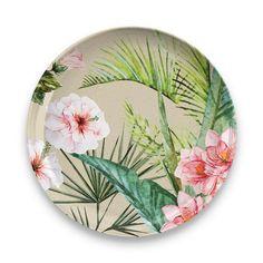 Bloomsbury Market Mary-Ellen Melamine Dinner Plate (Set of Tropical Dinnerware Sets, Tropical Dinner Plates, Disposable Tableware, Melamine Dinnerware, Dinner Plate Sets, Palermo, Plant Based, Bamboo, Exotic