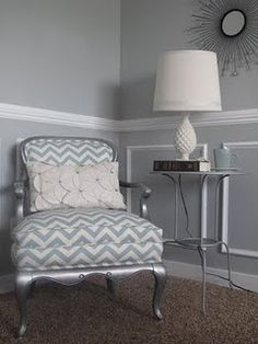Chair rail and moulding. Love for the half bath but in a light blue