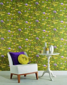 Meadow (97950) - Albany Wallpapers - A stunning photo image of a field of flowers.  Bright yellow buttercups and vivid blue cornflowers with green, green grass. Please request a sample for true colour match.  52cm pattern repeat with offset match.